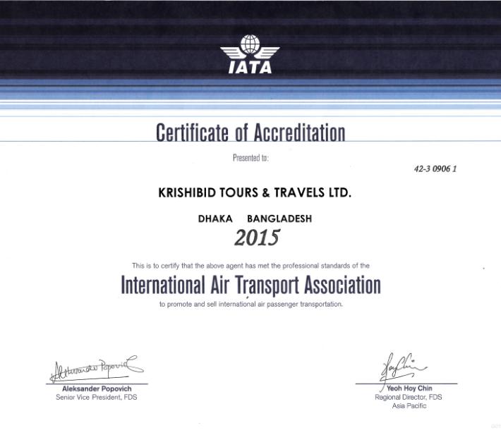 Certificate of IATA