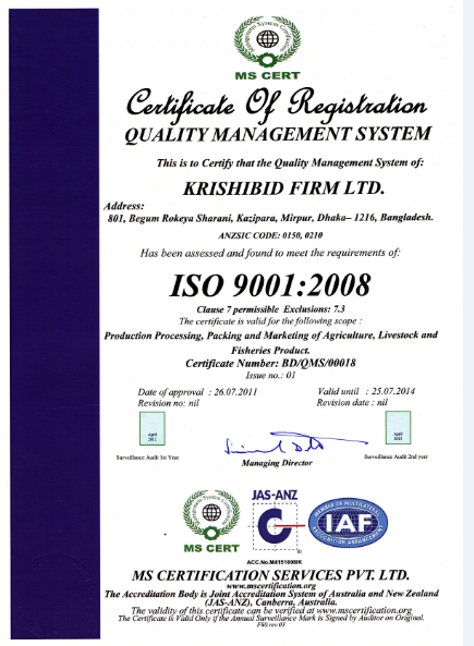 Certificate of Registration Quality Management System